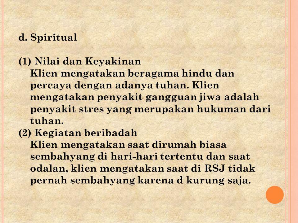 d. Spiritual (1) Nilai dan Keyakinan.