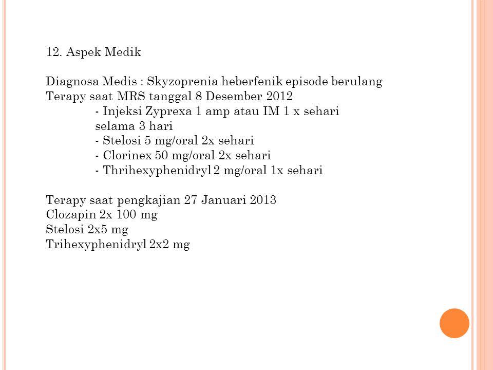 12. Aspek Medik Diagnosa Medis : Skyzoprenia heberfenik episode berulang. Terapy saat MRS tanggal 8 Desember 2012.