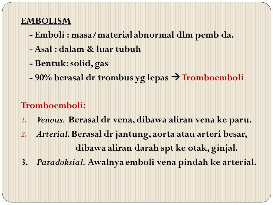 EMBOLISM - Emboli : masa/material abnormal dlm pemb da. - Asal : dalam & luar tubuh. - Bentuk: solid, gas.