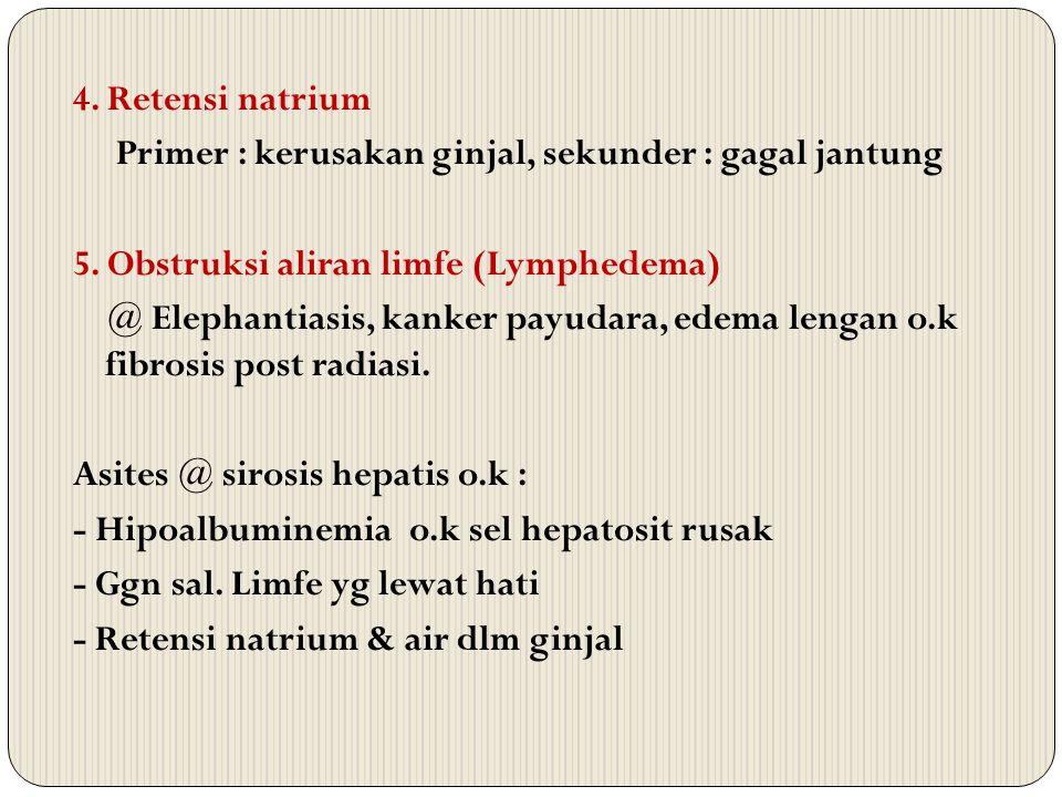 4. Retensi natrium Primer : kerusakan ginjal, sekunder : gagal jantung. 5. Obstruksi aliran limfe (Lymphedema)