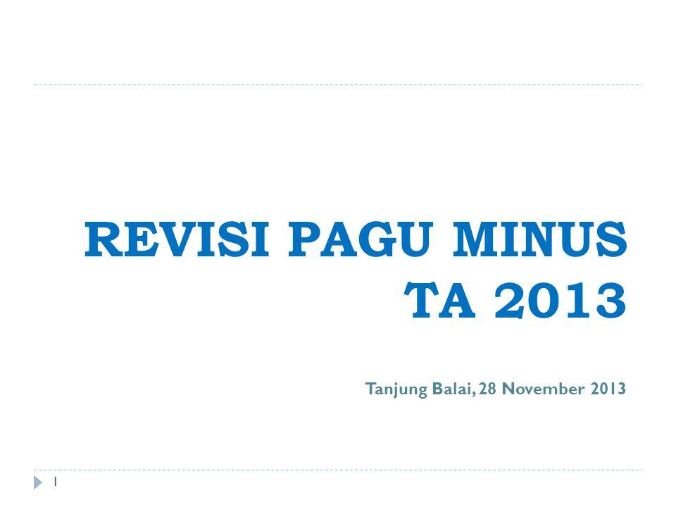 REVISI PAGU MINUS TA 2013 Tanjung Balai, 28 November 2013