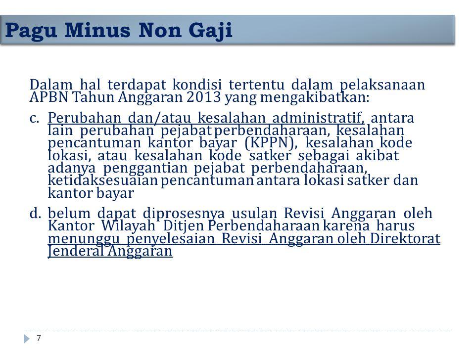 Pagu Minus Non Gaji Dalam hal terdapat kondisi tertentu dalam pelaksanaan APBN Tahun Anggaran 2013 yang mengakibatkan: