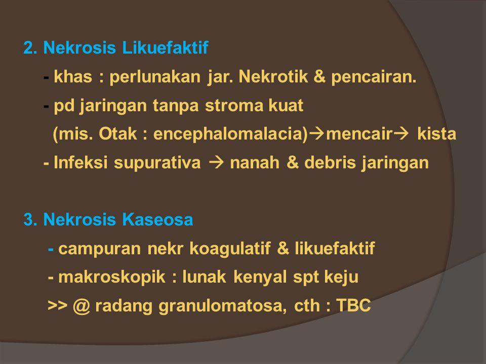 2. Nekrosis Likuefaktif - khas : perlunakan jar. Nekrotik & pencairan. - pd jaringan tanpa stroma kuat.