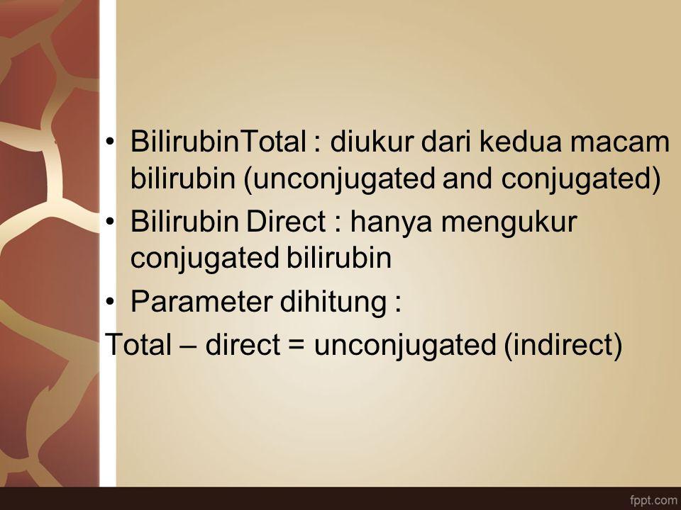 BilirubinTotal : diukur dari kedua macam bilirubin (unconjugated and conjugated)