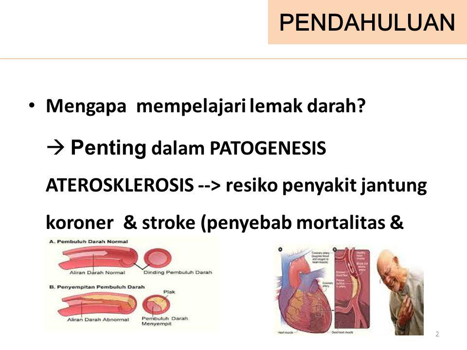 PENDAHULUAN Mengapa mempelajari lemak darah