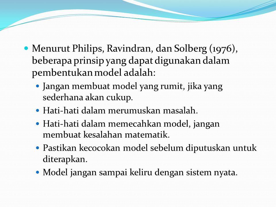 Menurut Philips, Ravindran, dan Solberg (1976), beberapa prinsip yang dapat digunakan dalam pembentukan model adalah: