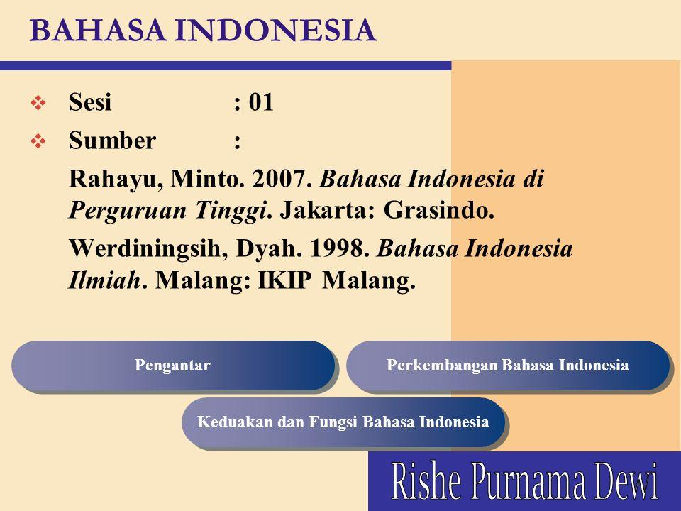 Perkembangan Bahasa Indonesia Keduakan dan Fungsi Bahasa Indonesia