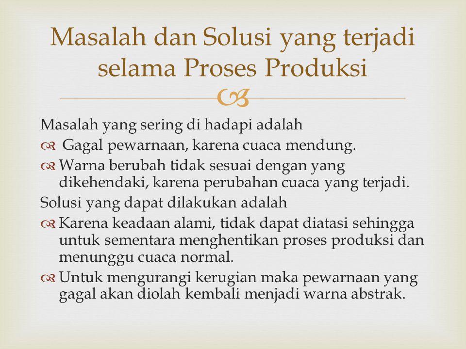Masalah dan Solusi yang terjadi selama Proses Produksi