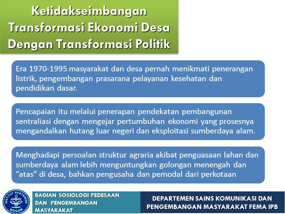 Ketidakseimbangan Transformasi Ekonomi Desa Dengan Transformasi Politik