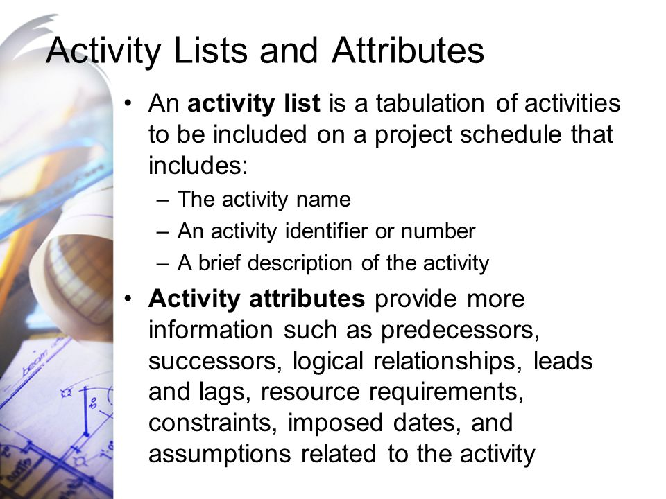Activity Lists and Attributes