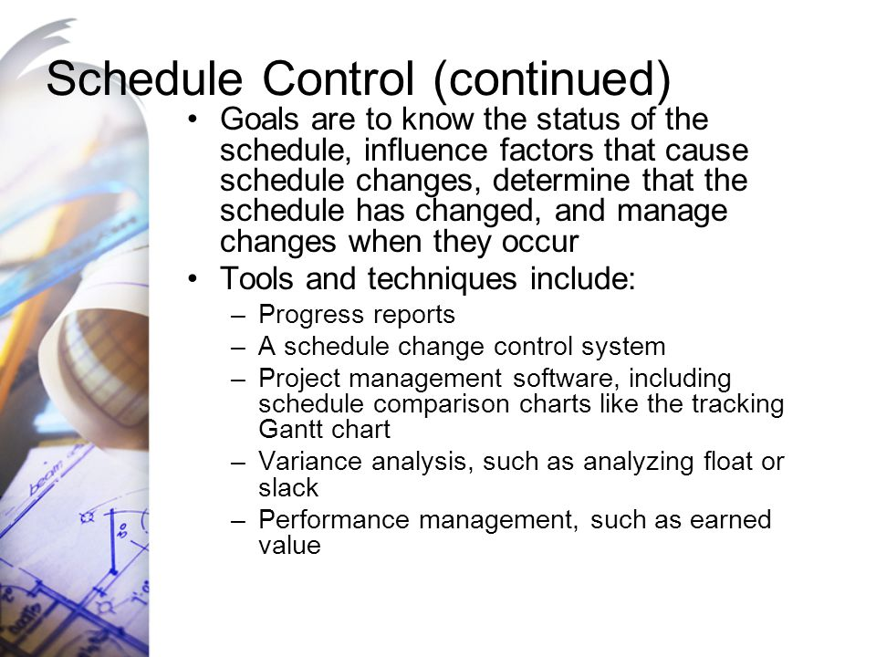 Schedule Control (continued)