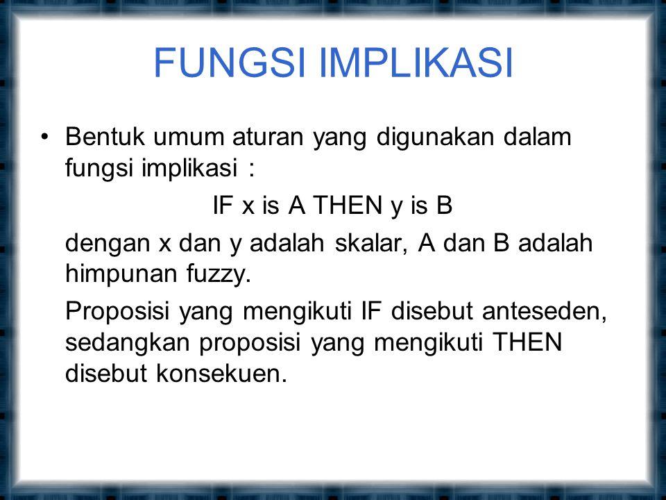 FUNGSI IMPLIKASI Bentuk umum aturan yang digunakan dalam fungsi implikasi : IF x is A THEN y is B.