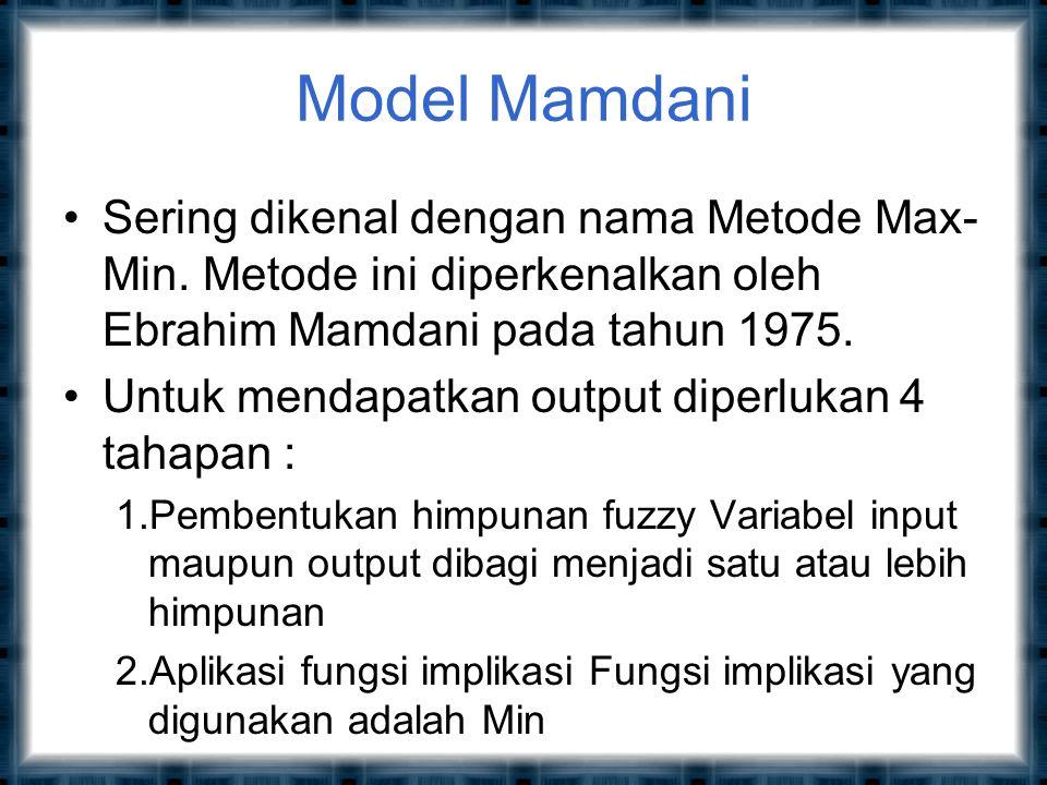 Model Mamdani Sering dikenal dengan nama Metode Max-Min. Metode ini diperkenalkan oleh Ebrahim Mamdani pada tahun 1975.