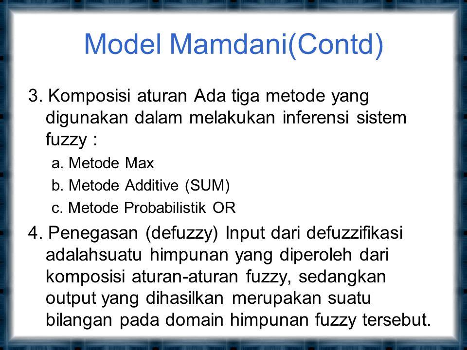 Model Mamdani(Contd) 3. Komposisi aturan Ada tiga metode yang digunakan dalam melakukan inferensi sistem fuzzy :