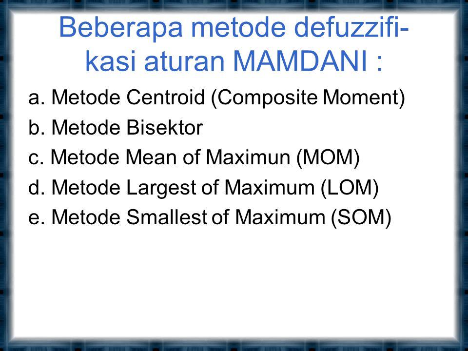Beberapa metode defuzzifi- kasi aturan MAMDANI :