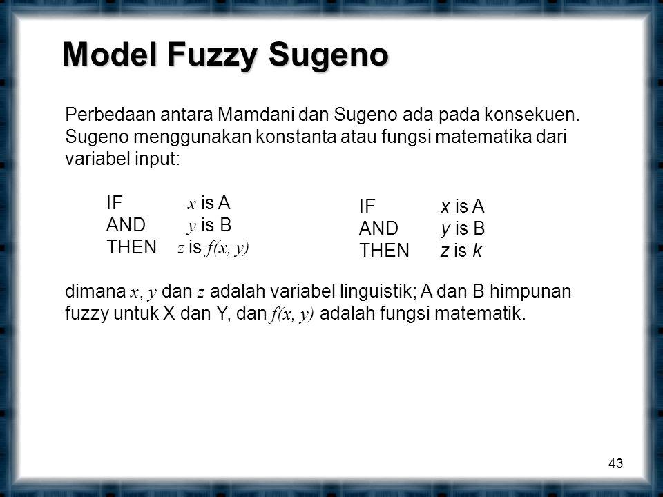 Model Fuzzy Sugeno Perbedaan antara Mamdani dan Sugeno ada pada konsekuen. Sugeno menggunakan konstanta atau fungsi matematika dari variabel input: