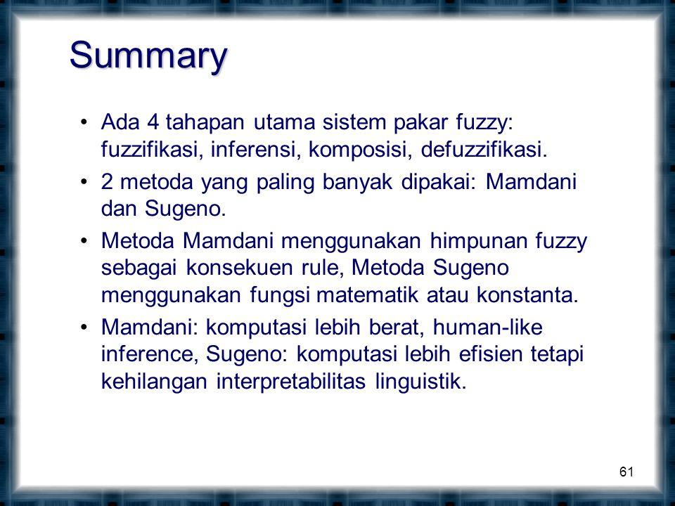 Summary Ada 4 tahapan utama sistem pakar fuzzy: fuzzifikasi, inferensi, komposisi, defuzzifikasi.