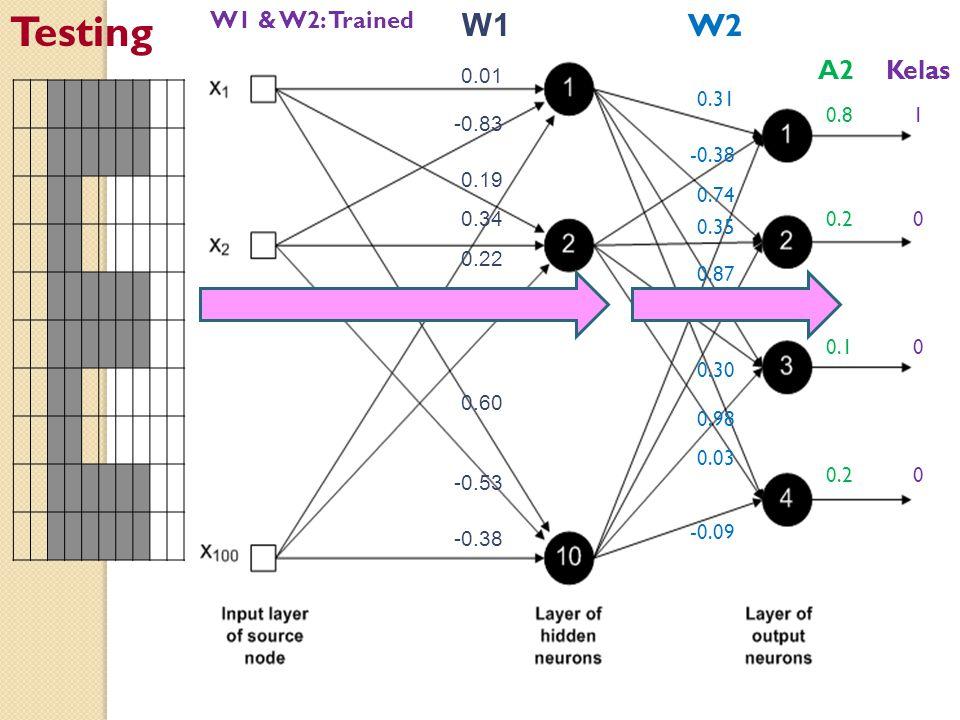 Testing W1 W2 A2 Kelas W1 & W2: Trained 0.01 -0.83 0.19 0.34 0.22 0.62