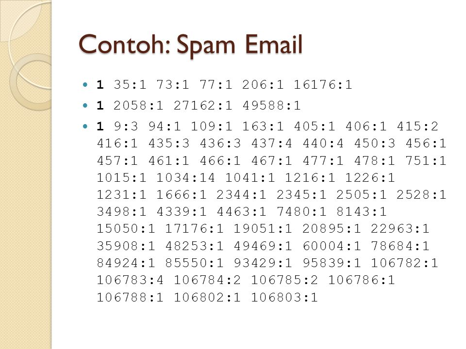 Contoh: Spam Email 1 35:1 73:1 77:1 206:1 16176:1