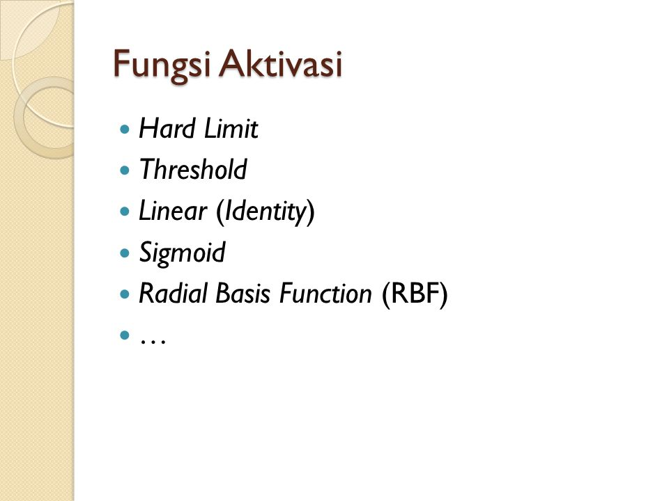 Fungsi Aktivasi Hard Limit Threshold Linear (Identity) Sigmoid