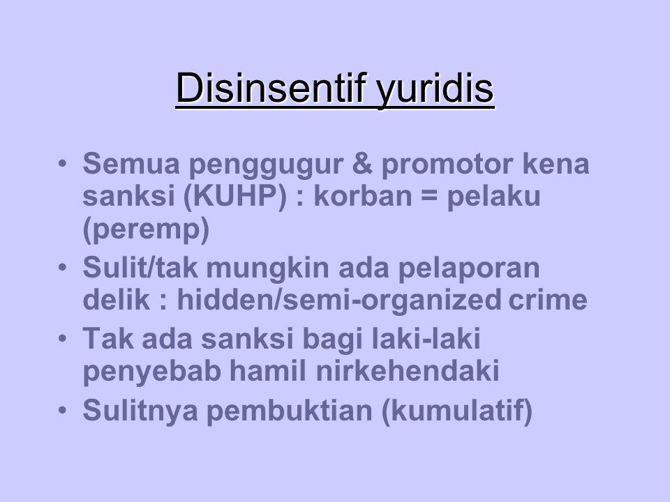 Disinsentif yuridis Semua penggugur & promotor kena sanksi (KUHP) : korban = pelaku (peremp)
