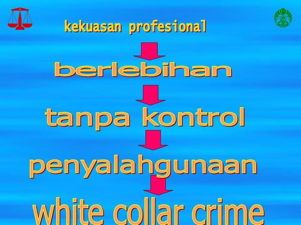 kekuasan profesional berlebihan tanpa kontrol penyalahgunaan white collar crime