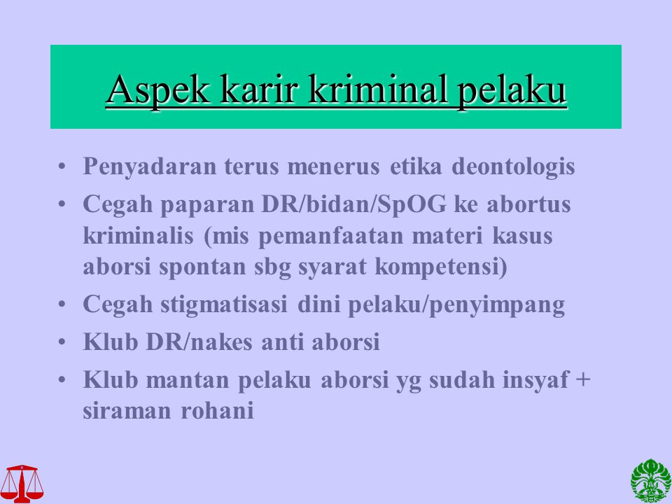 Aspek karir kriminal pelaku