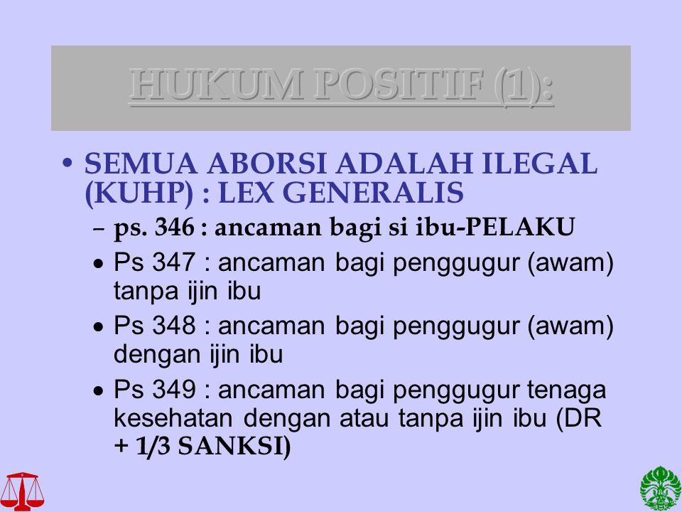 HUKUM POSITIF (1): SEMUA ABORSI ADALAH ILEGAL (KUHP) : LEX GENERALIS