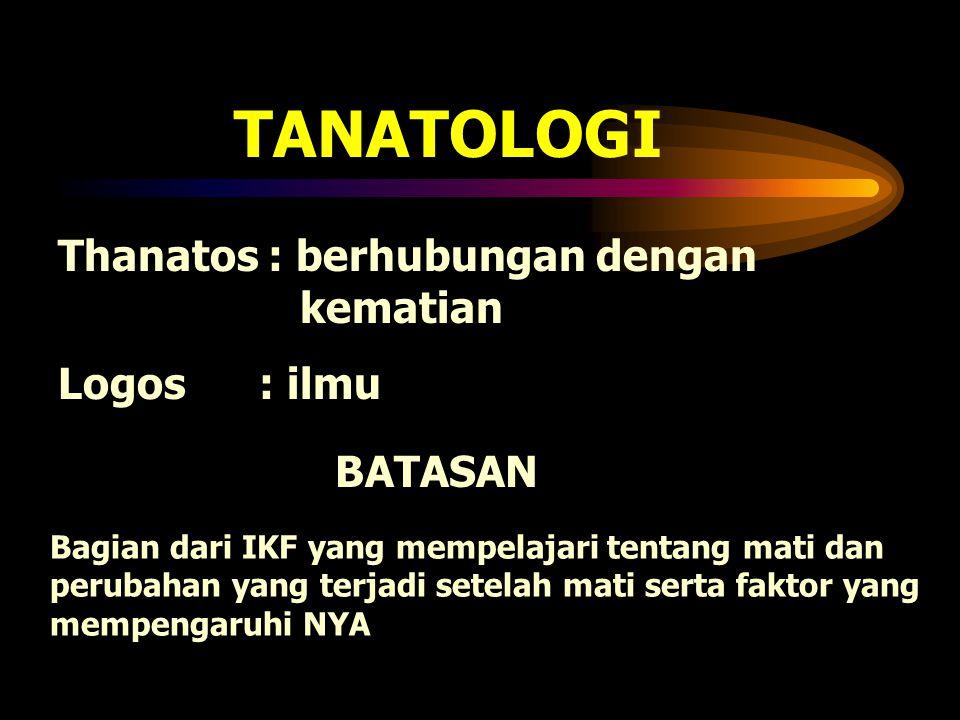 TANATOLOGI Thanatos : berhubungan dengan kematian Logos : ilmu BATASAN
