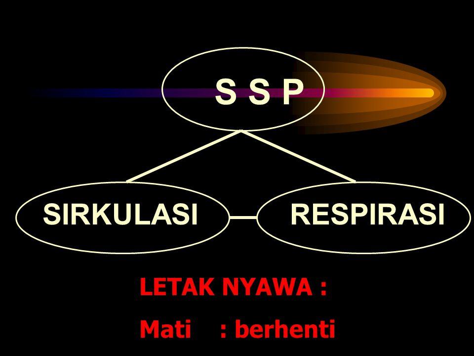 S S P SIRKULASI RESPIRASI LETAK NYAWA : Mati : berhenti