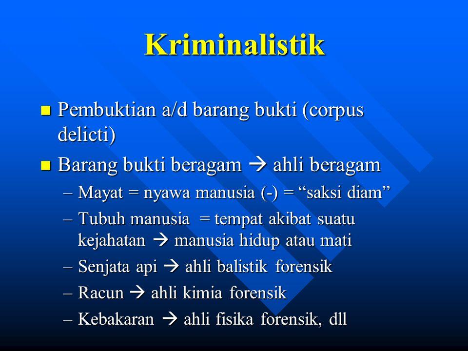 Kriminalistik Pembuktian a/d barang bukti (corpus delicti)