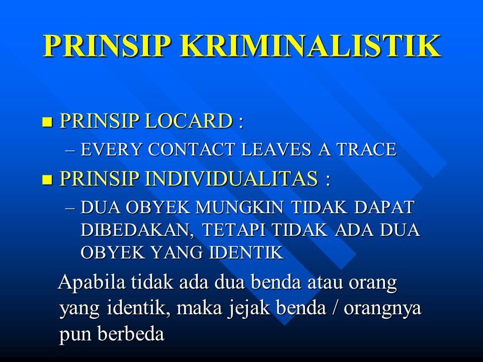 PRINSIP KRIMINALISTIK