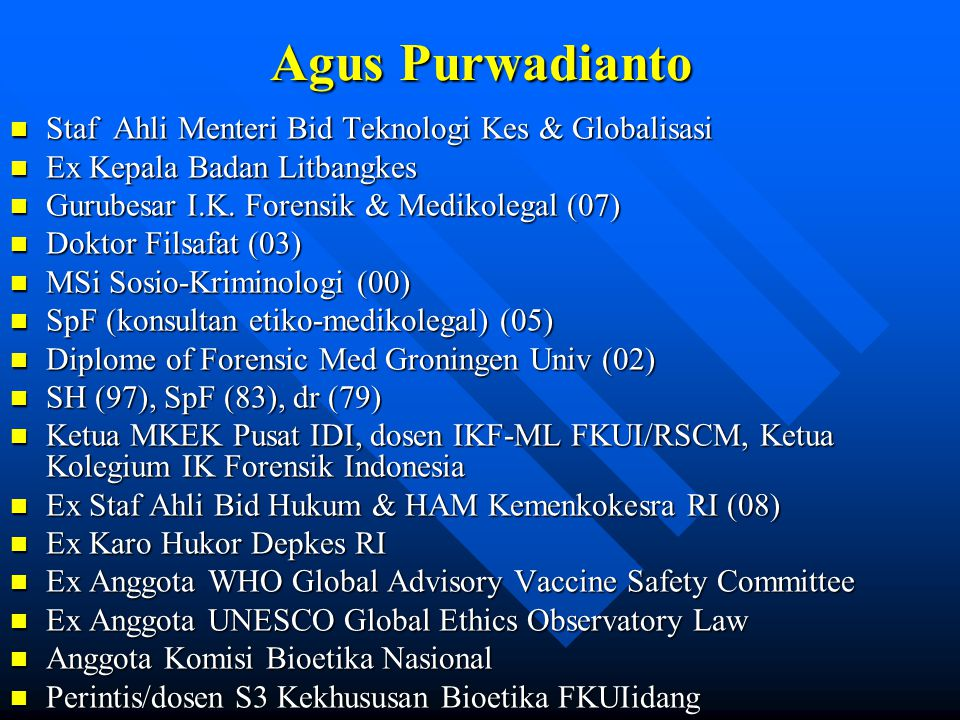 Agus Purwadianto Staf Ahli Menteri Bid Teknologi Kes & Globalisasi