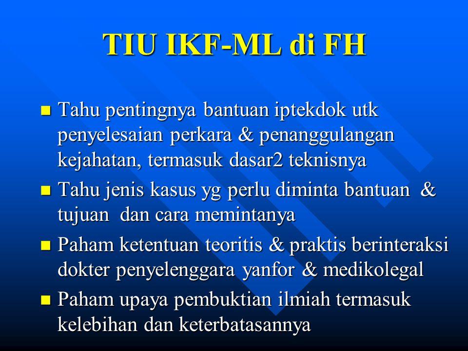 TIU IKF-ML di FH Tahu pentingnya bantuan iptekdok utk penyelesaian perkara & penanggulangan kejahatan, termasuk dasar2 teknisnya.