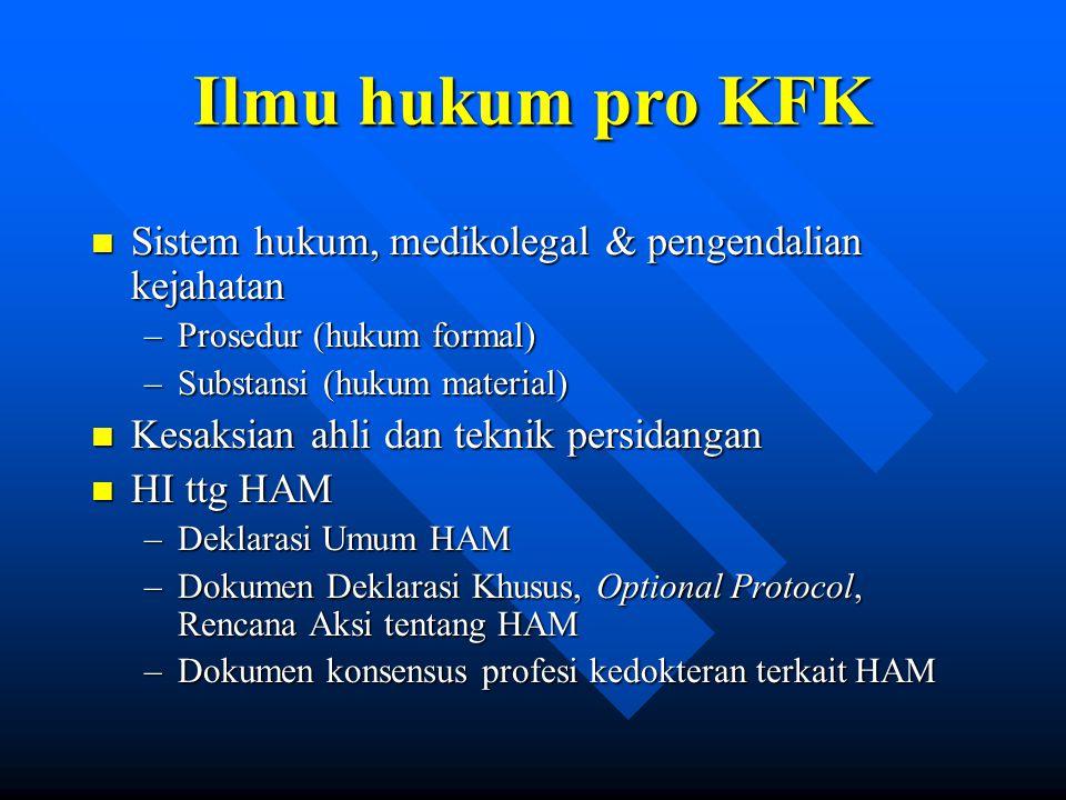Ilmu hukum pro KFK Sistem hukum, medikolegal & pengendalian kejahatan