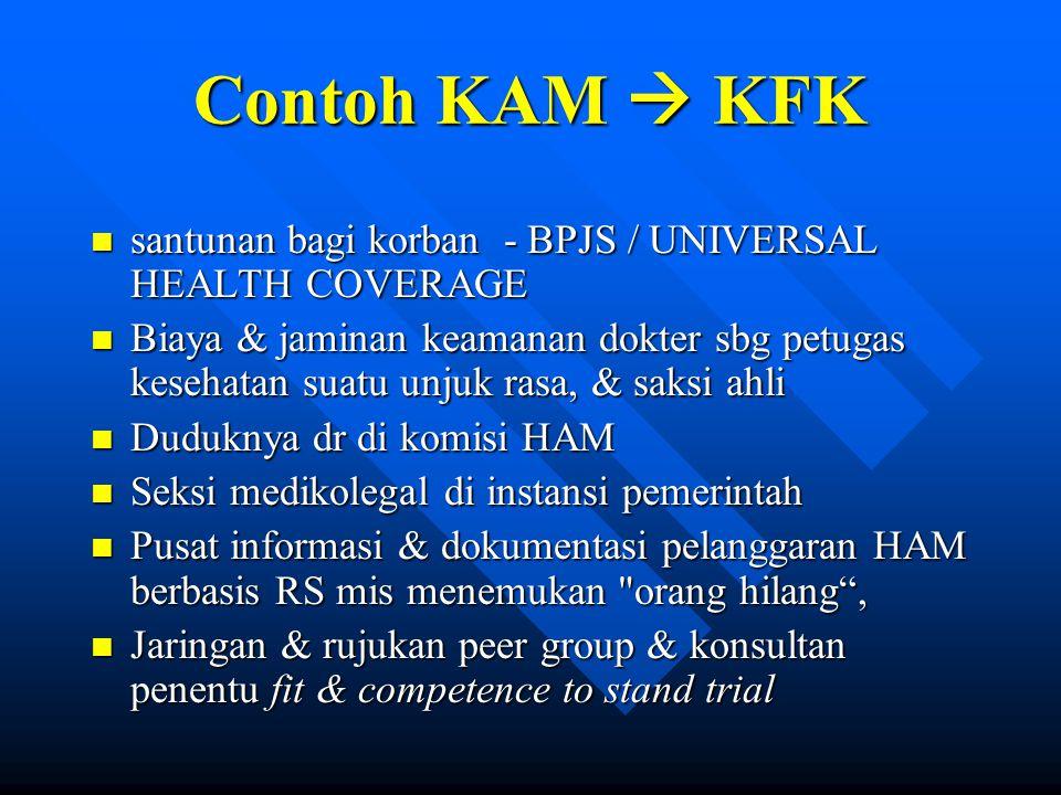 Contoh KAM  KFK santunan bagi korban - BPJS / UNIVERSAL HEALTH COVERAGE.