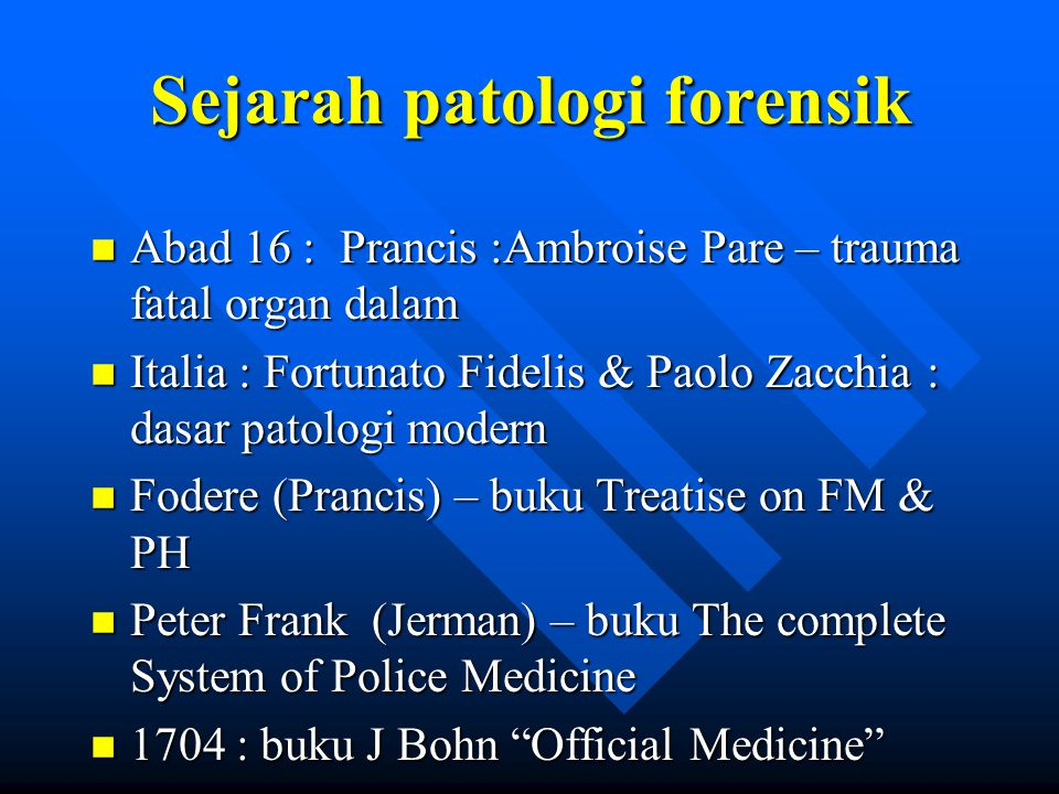 Sejarah patologi forensik
