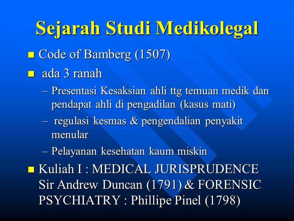 Sejarah Studi Medikolegal