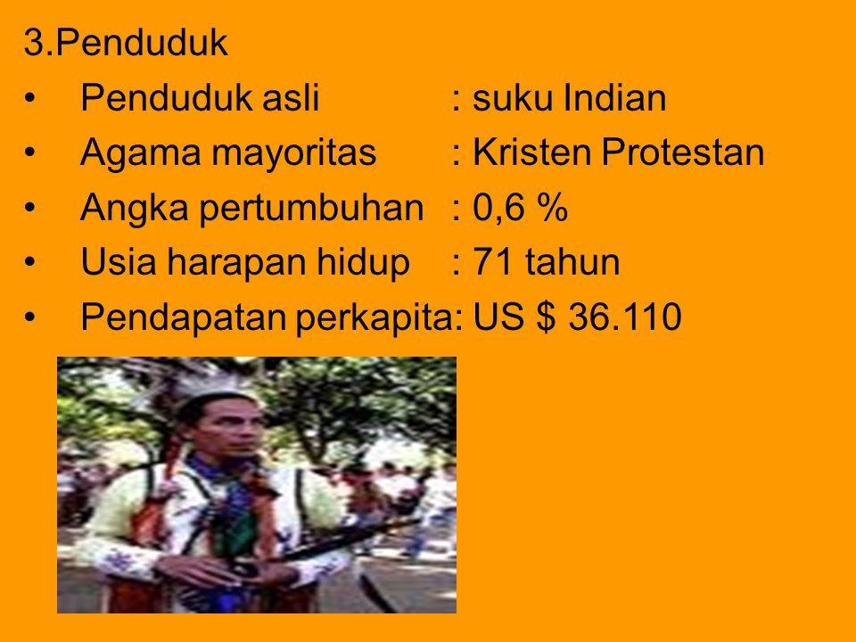 3.Penduduk Penduduk asli : suku Indian. Agama mayoritas : Kristen Protestan. Angka pertumbuhan : 0,6 %
