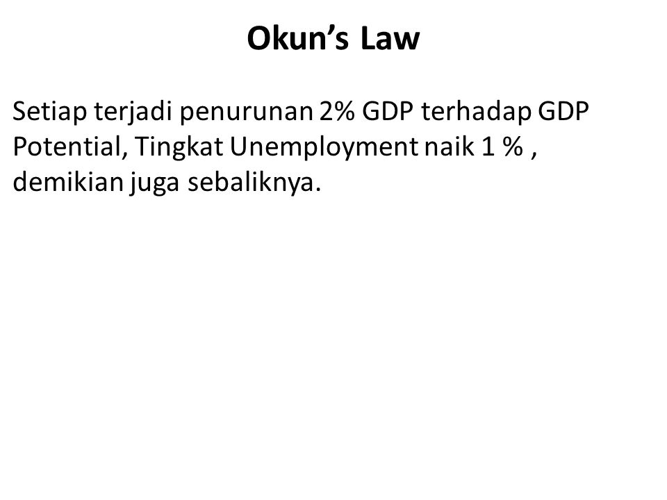 Okun's Law Setiap terjadi penurunan 2% GDP terhadap GDP Potential, Tingkat Unemployment naik 1 % , demikian juga sebaliknya.