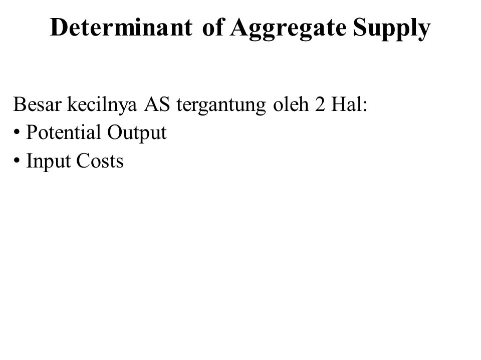 Determinant of Aggregate Supply