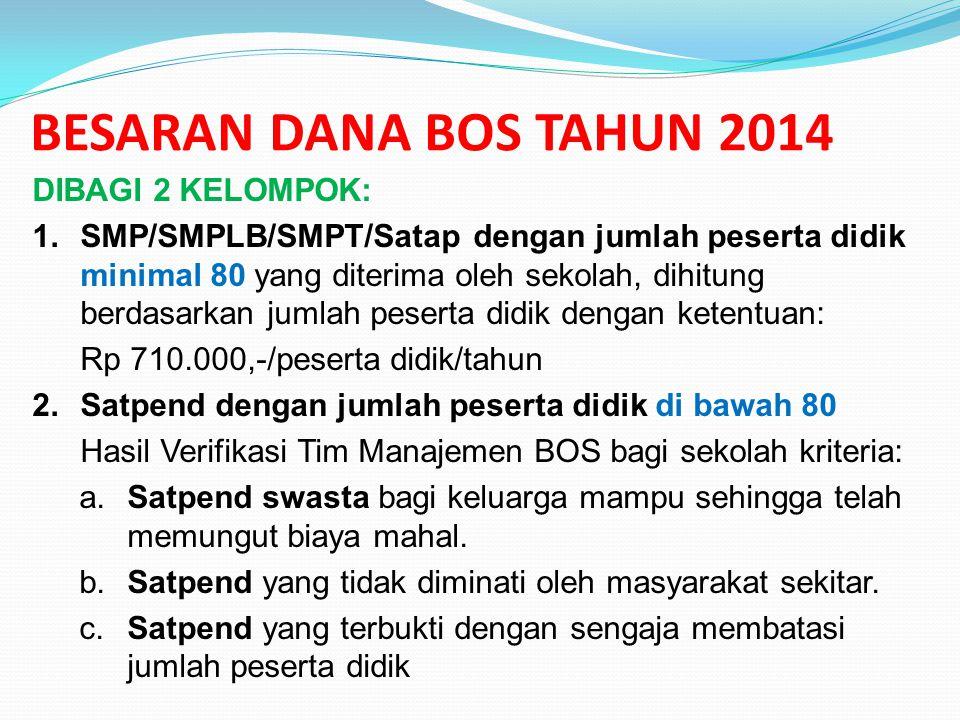 BESARAN DANA BOS TAHUN 2014 DIBAGI 2 KELOMPOK: