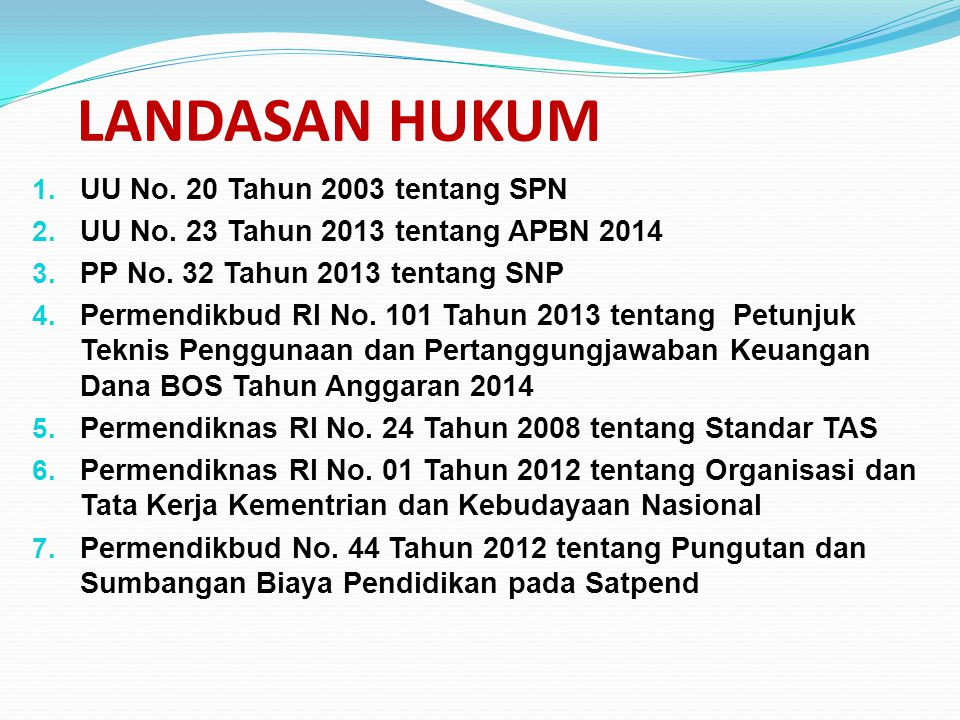 LANDASAN HUKUM UU No. 20 Tahun 2003 tentang SPN