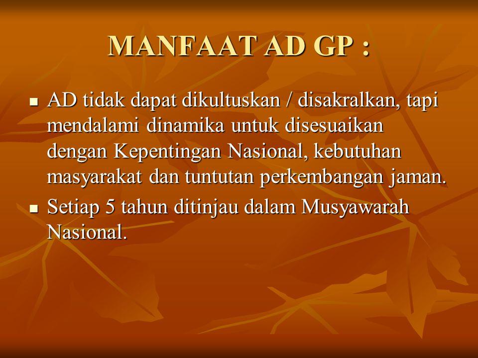 MANFAAT AD GP :