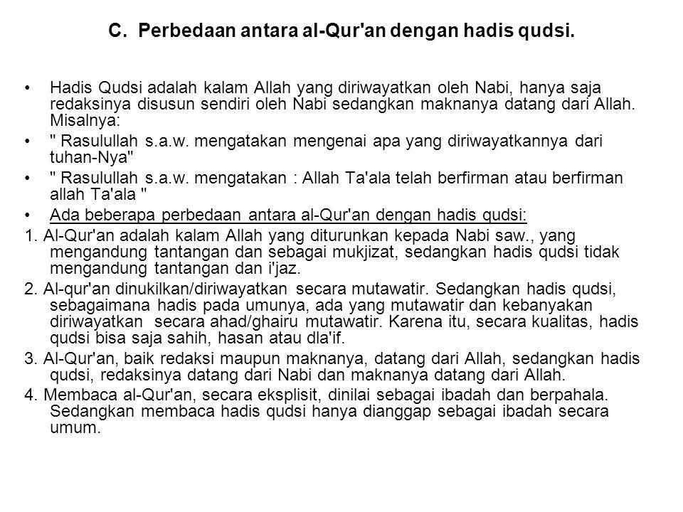 C. Perbedaan antara al-Qur an dengan hadis qudsi.