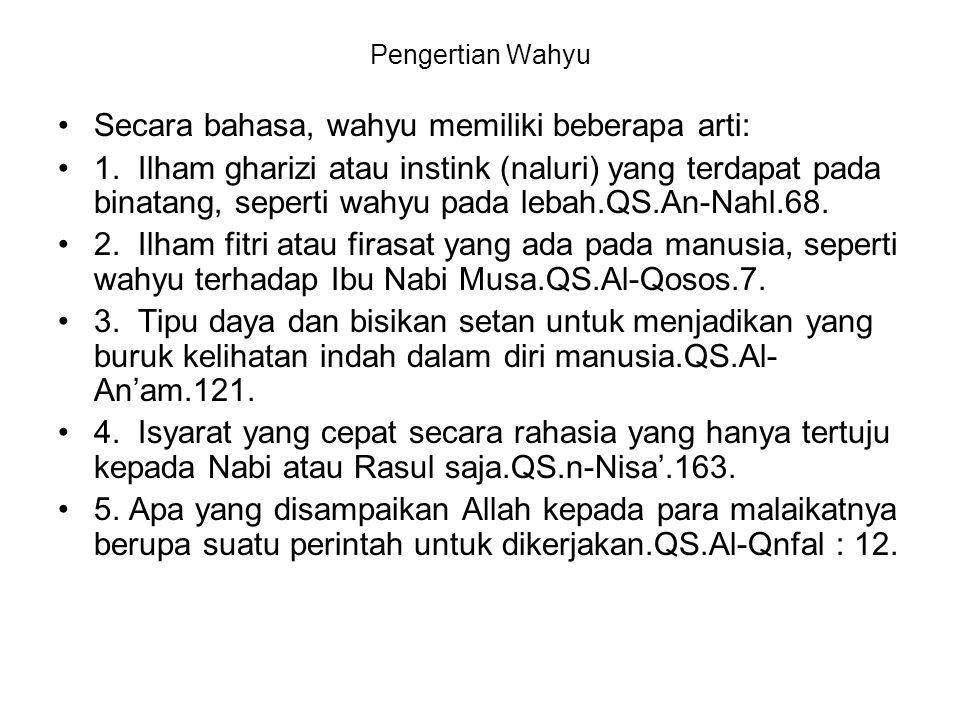 Secara bahasa, wahyu memiliki beberapa arti: