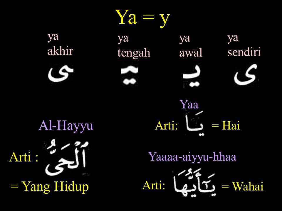 Ya = y Al-Hayyu Arti : = Yang Hidup ya akhir ya tengah ya awal ya