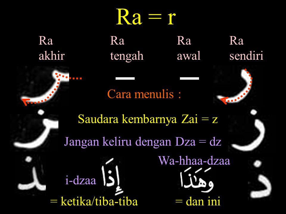 Ra = r Ra akhir Ra tengah Ra awal Ra sendiri Cara menulis :