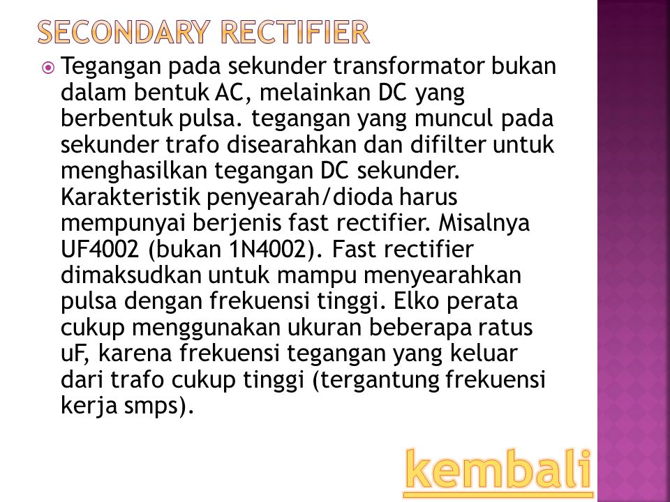 kembali Secondary Rectifier