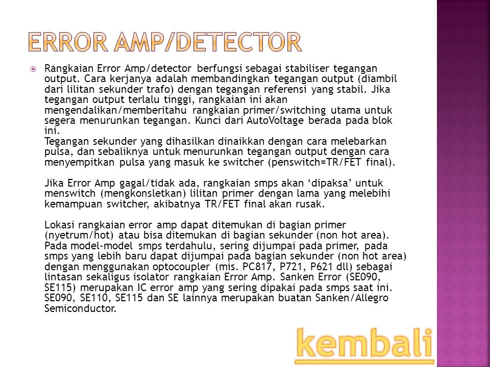 kembali Error Amp/Detector